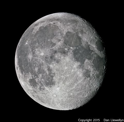 Image of the Moon at Lunar Phase Day 16.